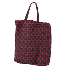 Scales3 Black Marble & Red Leather (r) Giant Grocery Zipper Tote by trendistuff