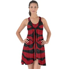 Skin2 Black Marble & Red Leather Show Some Back Chiffon Dress by trendistuff