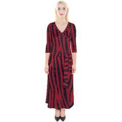 Skin4 Black Marble & Red Leather (r) Quarter Sleeve Wrap Maxi Dress