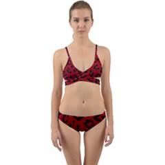 Skin5 Black Marble & Red Leather (r) Wrap Around Bikini Set