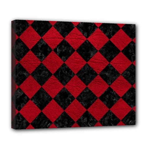 Square2 Black Marble & Red Leather Deluxe Canvas 24  X 20   by trendistuff