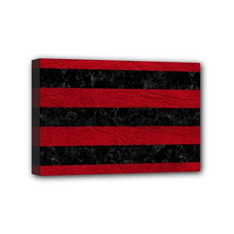 Stripes2 Black Marble & Red Leather Mini Canvas 6  X 4  by trendistuff
