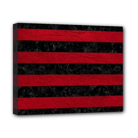 Stripes2 Black Marble & Red Leather Canvas 10  X 8  by trendistuff