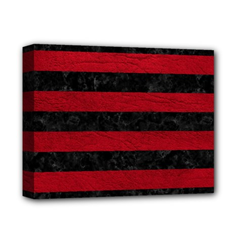 Stripes2 Black Marble & Red Leather Deluxe Canvas 14  X 11  by trendistuff
