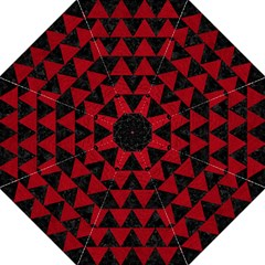 Triangle2 Black Marble & Red Leather Golf Umbrellas by trendistuff