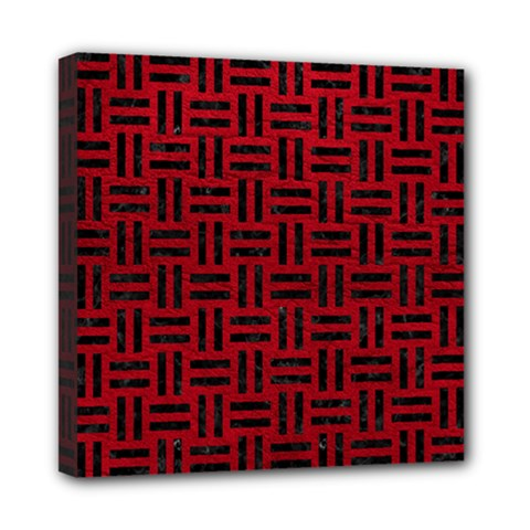 Woven1 Black Marble & Red Leather Mini Canvas 8  X 8  by trendistuff