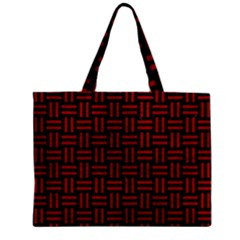 Woven1 Black Marble & Red Leather (r) Zipper Mini Tote Bag by trendistuff