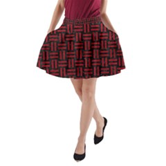 Woven1 Black Marble & Red Leather (r) A Line Pocket Skirt by trendistuff