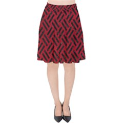 Woven2 Black Marble & Red Leather Velvet High Waist Skirt
