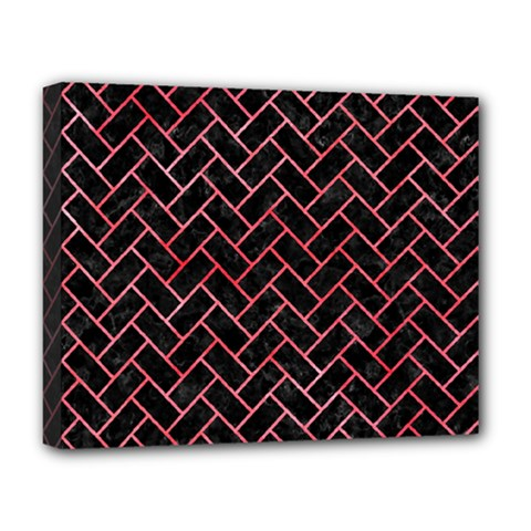 Brick2 Black Marble & Red Watercolor (r) Deluxe Canvas 20  X 16   by trendistuff