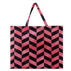 Chevron1 Black Marble & Red Watercolor Zipper Large Tote Bag by trendistuff