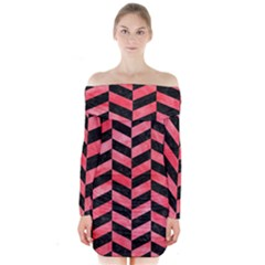 Chevron1 Black Marble & Red Watercolor Long Sleeve Off Shoulder Dress by trendistuff