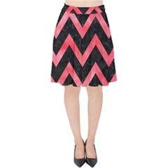 Chevron9 Black Marble & Red Watercolor (r) Velvet High Waist Skirt