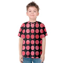 Circles1 Black Marble & Red Watercolor (r) Kids  Cotton Tee by trendistuff