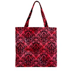 Damask1 Black Marble & Red Watercolor Zipper Grocery Tote Bag by trendistuff