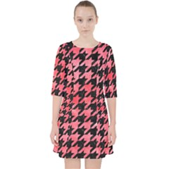 Houndstooth1 Black Marble & Red Watercolor Pocket Dress by trendistuff