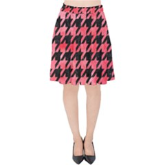 Houndstooth1 Black Marble & Red Watercolor Velvet High Waist Skirt