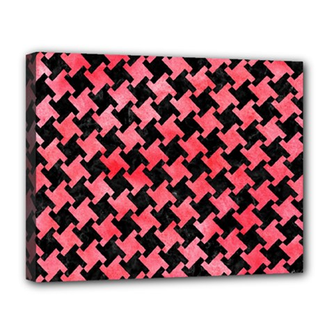 Houndstooth2 Black Marble & Red Watercolor Canvas 14  X 11  by trendistuff