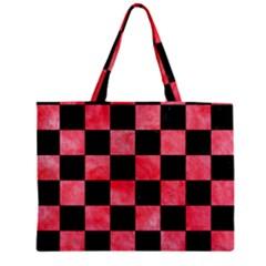 Square1 Black Marble & Red Watercolor Zipper Mini Tote Bag by trendistuff