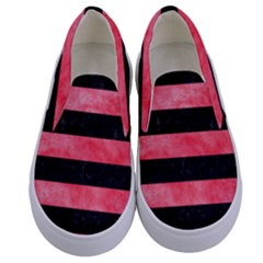 Stripes2 Black Marble & Red Watercolor Kids  Canvas Slip Ons