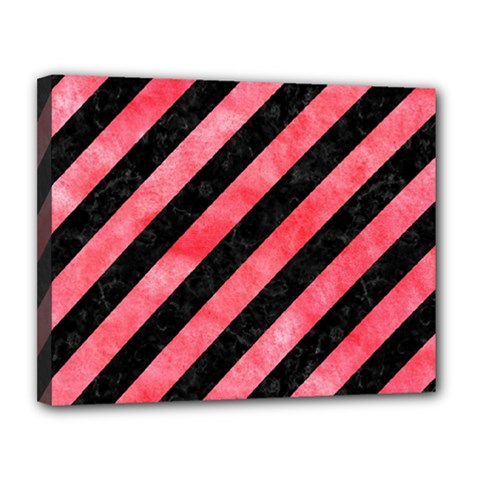 Stripes3 Black Marble & Red Watercolor (r) Canvas 14  X 11  by trendistuff