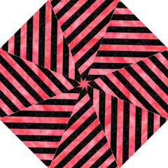Stripes3 Black Marble & Red Watercolor (r) Folding Umbrellas by trendistuff