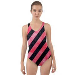 Stripes3 Black Marble & Red Watercolor (r) Cut Out Back One Piece Swimsuit by trendistuff