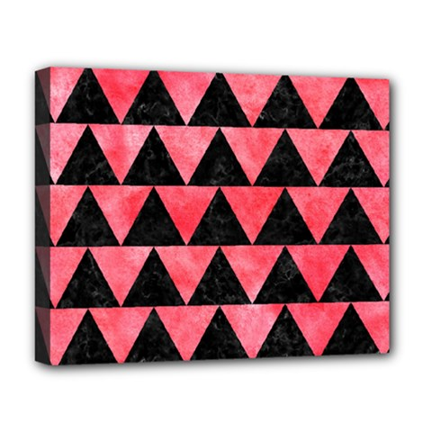 Triangle2 Black Marble & Red Watercolor Deluxe Canvas 20  X 16   by trendistuff