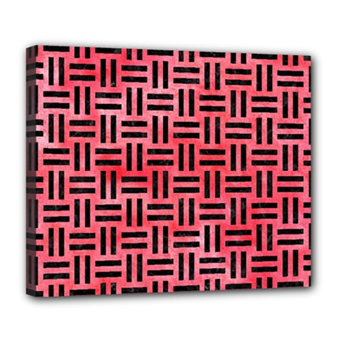 Woven1 Black Marble & Red Watercolor Deluxe Canvas 24  X 20   by trendistuff