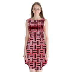 Woven1 Black Marble & Red Watercolor Sleeveless Chiffon Dress   by trendistuff