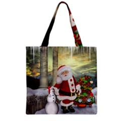 Sanata Claus With Snowman And Christmas Tree Grocery Tote Bag by FantasyWorld7