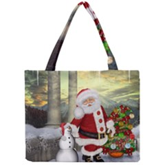 Sanata Claus With Snowman And Christmas Tree Mini Tote Bag by FantasyWorld7