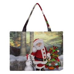 Sanata Claus With Snowman And Christmas Tree Medium Tote Bag by FantasyWorld7