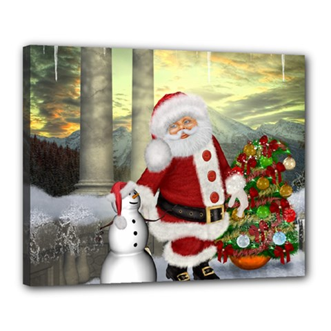 Sanata Claus With Snowman And Christmas Tree Canvas 20  X 16  by FantasyWorld7