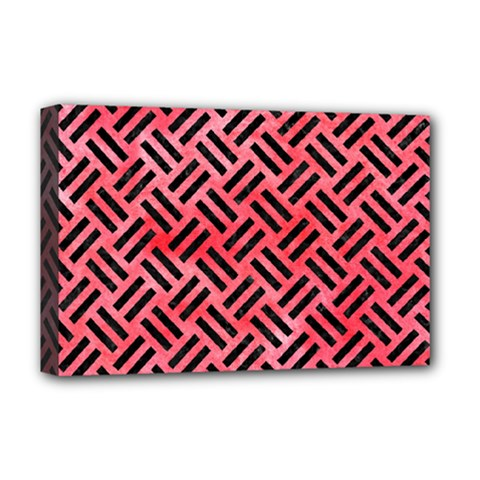 Woven2 Black Marble & Red Watercolor Deluxe Canvas 18  X 12   by trendistuff