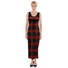 Circles1 Black Marble & Red Wood Fitted Maxi Dress by trendistuff