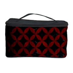 Circles3 Black Marble & Red Wood (r) Cosmetic Storage Case by trendistuff