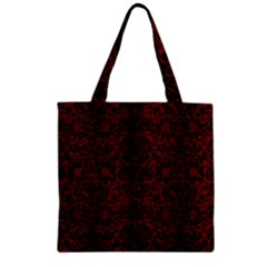 Damask2 Black Marble & Red Wood Zipper Grocery Tote Bag by trendistuff
