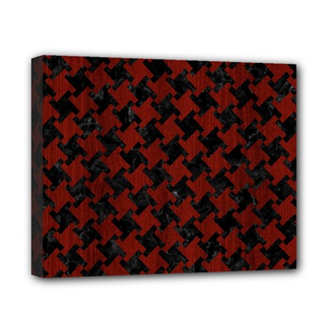 Houndstooth2 Black Marble & Red Wood Canvas 10  X 8  by trendistuff