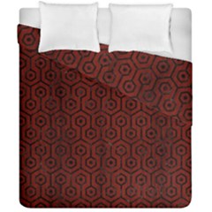 Hexagon1 Black Marble & Red Wood Duvet Cover Double Side (california King Size) by trendistuff