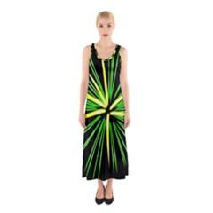 Fireworks Green Happy New Year Yellow Black Sky Sleeveless Maxi Dress by Alisyart