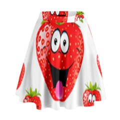 Strawberry Fruit Emoji Face Smile Fres Red Cute High Waist Skirt by Alisyart