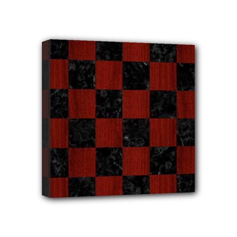 Square1 Black Marble & Red Wood Mini Canvas 4  X 4  by trendistuff