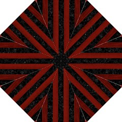 Stripes1 Black Marble & Red Wood Golf Umbrellas by trendistuff