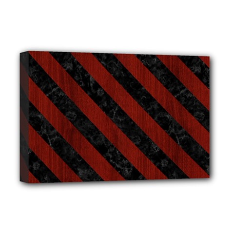 Stripes3 Black Marble & Red Wood Deluxe Canvas 18  X 12   by trendistuff