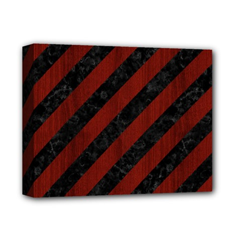 Stripes3 Black Marble & Red Wood (r) Deluxe Canvas 14  X 11  by trendistuff