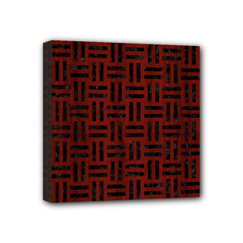 Woven1 Black Marble & Red Wood Mini Canvas 4  X 4  by trendistuff