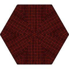 Woven1 Black Marble & Red Wood Mini Folding Umbrellas by trendistuff