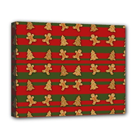 Ginger Cookies Christmas Pattern Deluxe Canvas 20  X 16   by Valentinaart