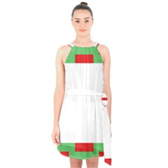 Fabric Christmas Red White Green Halter Collar Waist Tie Chiffon Dress
